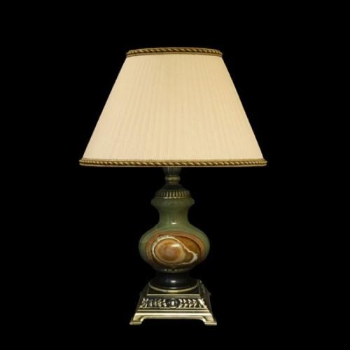 Настольная лампа из камня НК-О-05М Зеленый оникс