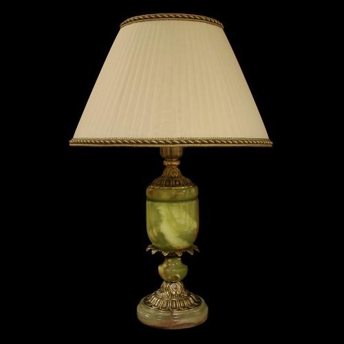 Настольная лампа из камня НК-О-10 Зеленый оникс