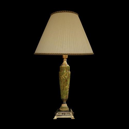 Настольная лампа из камня НК-О-12 Зеленый оникс