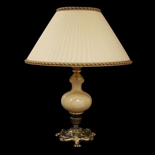 Настольная лампа из камня НК-О-19 Белый оникс