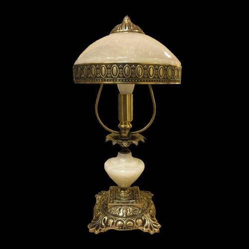 Настольная лампа из камня НК-О-02 ОВМ Белый оникс