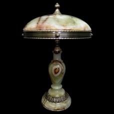 Настольная лампа из камня НК-О-14 ОВ Зеленый оникс
